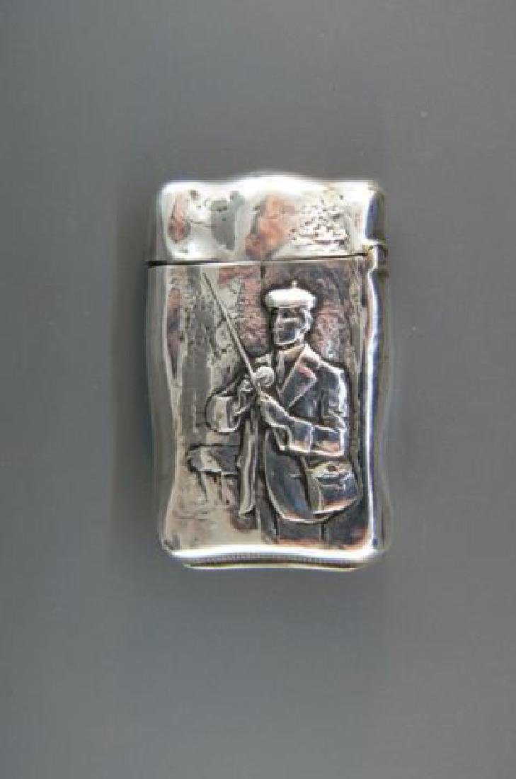 Victorian Sterling Match Safe with Fly Fisherman,