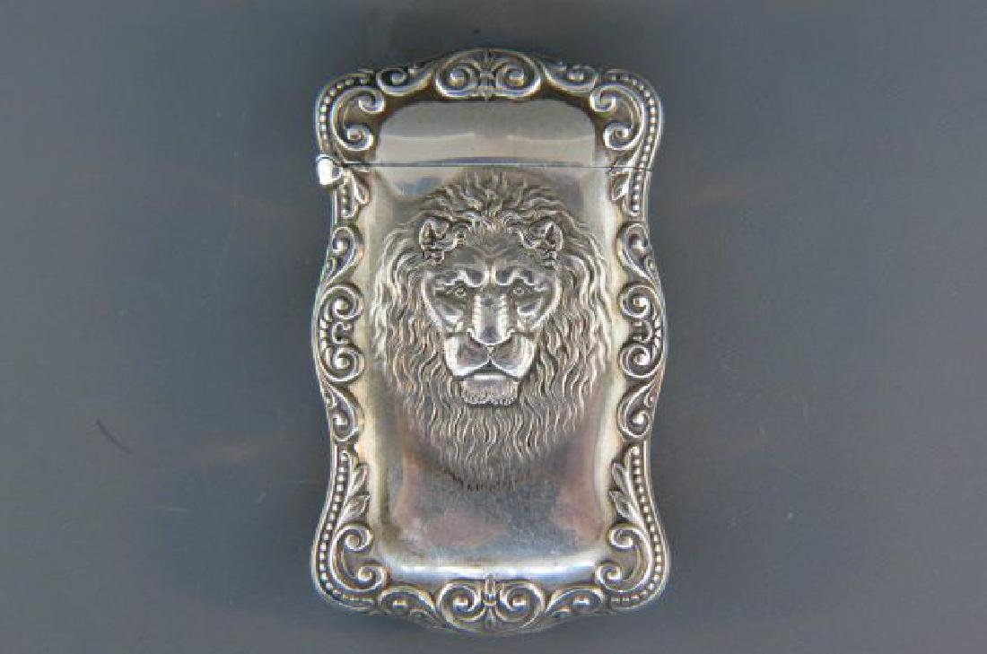 Sterling Silver Match Safe with Lion's Head,