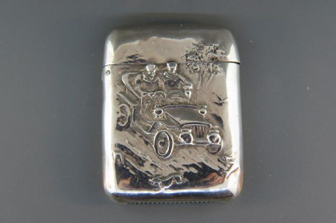 Victorian Sterling Match Safe with Automobile,