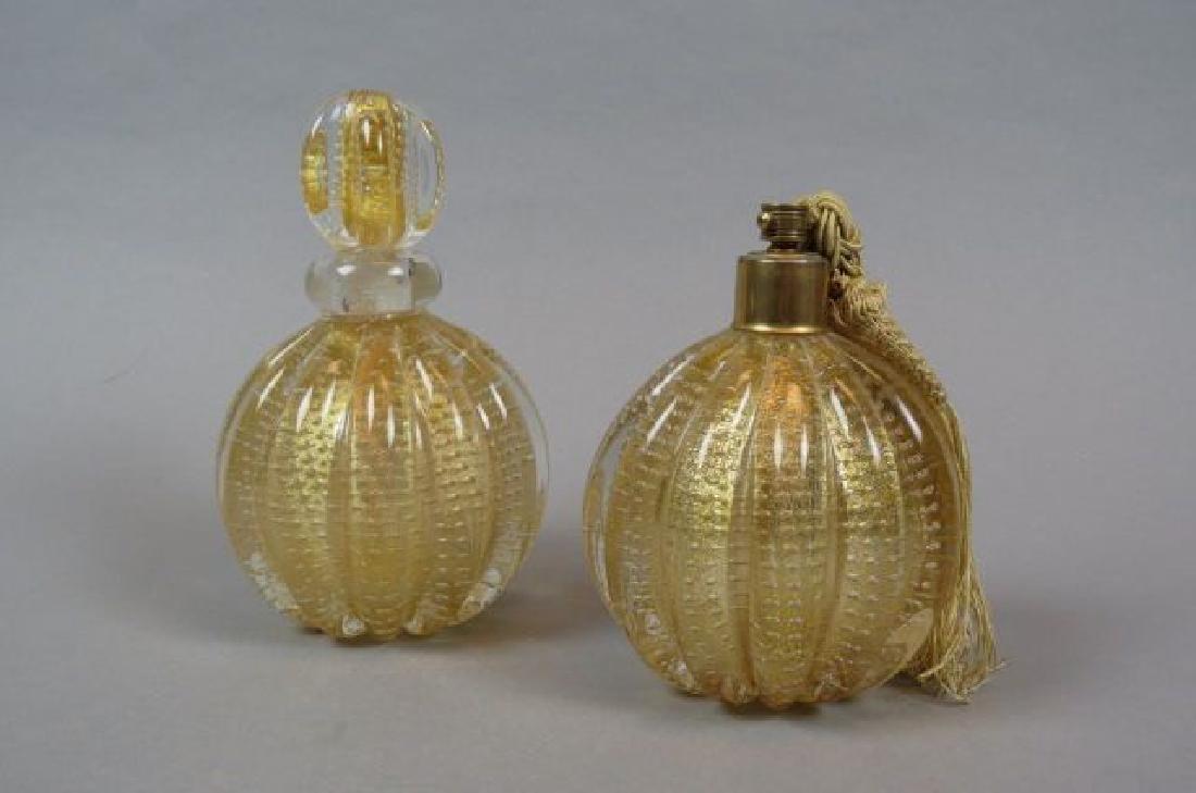 Italian Art Glass Perfume & Atomizer by Barovier,