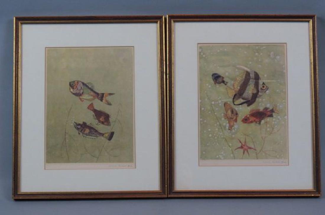 Silvio Polloni, pair of aquatic prints with fish,