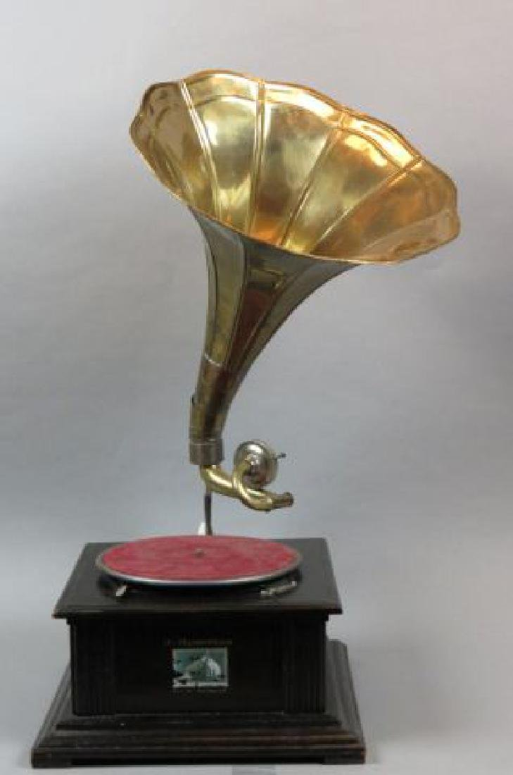 Table Top Victrola with Morning Glory Brass Horn,