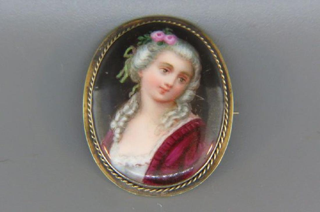 Victorian 14K Brooch with Miniature Painting,