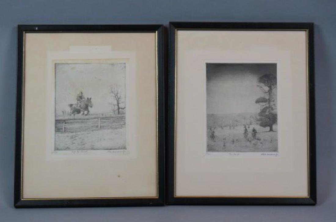 """2 Don Swann Jr. Etchings, """"The Hunt"""" & """"Up & Over"""""""