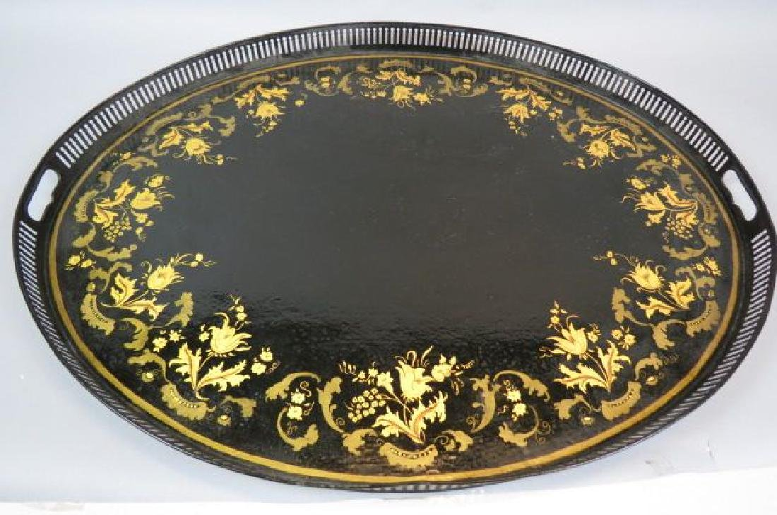 Early Tin Tole Decorated Gallery Tray,