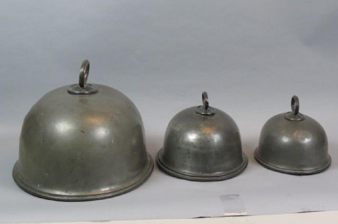 3 Graduated Sheffield Pewter Warming Domes,
