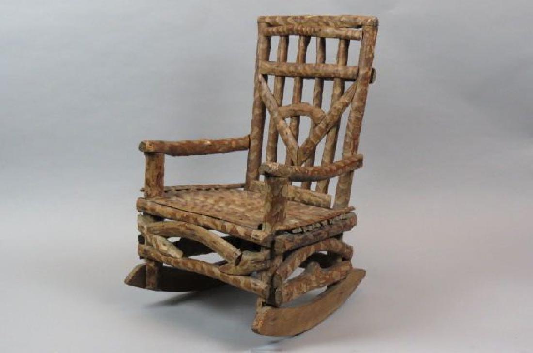 Child's Folk Art Twig Style Rocking Chair,