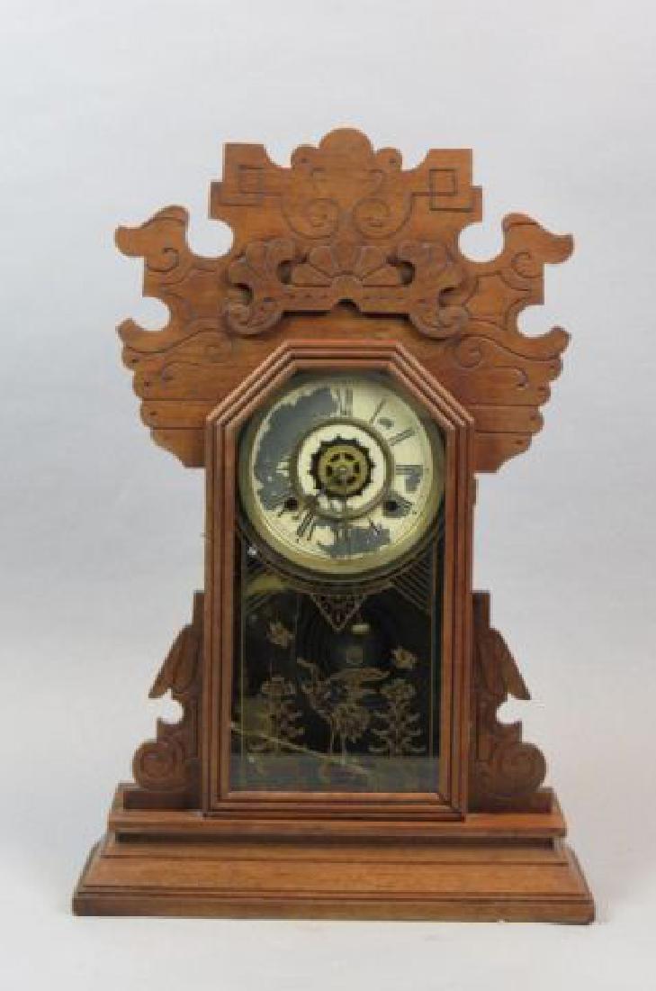 Victorian Carved Oak Gingerbread Clock,