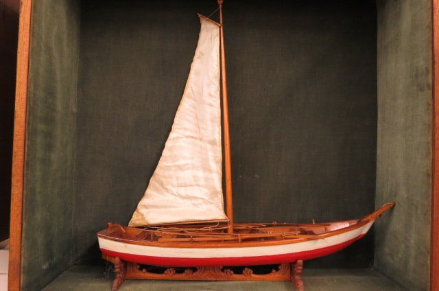 Wooden Model of a Sailboat in Wall Cabinet,