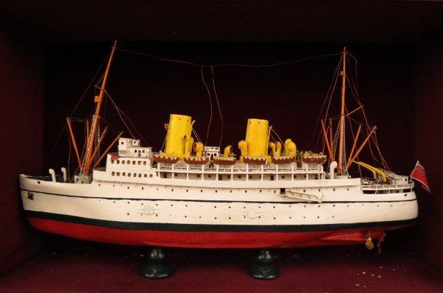 Wooden Steamship Model in Wall Cabinet,
