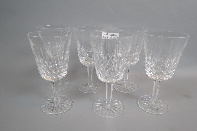 "6 Waterford ""Lismore"" Cut Crystal Goblets,"