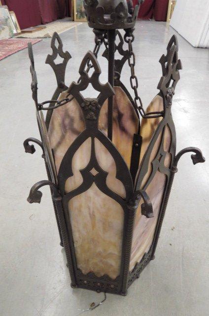 Slag Glass Hanging Light Fixture,