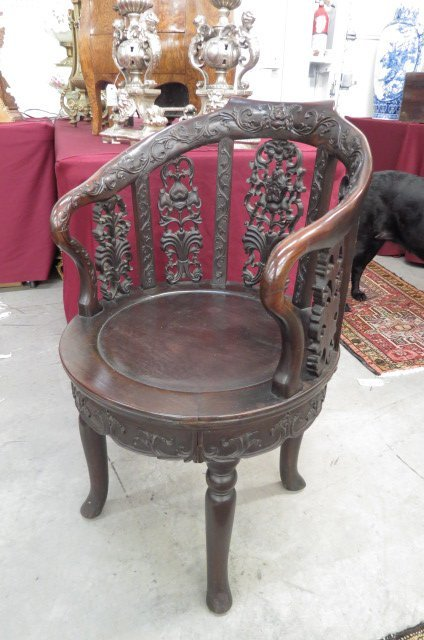 Chinese Carved Wood Chair, rounded back and seat,