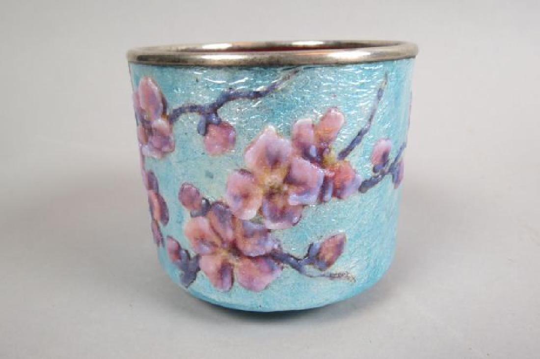 French Enamel Vase, - 2