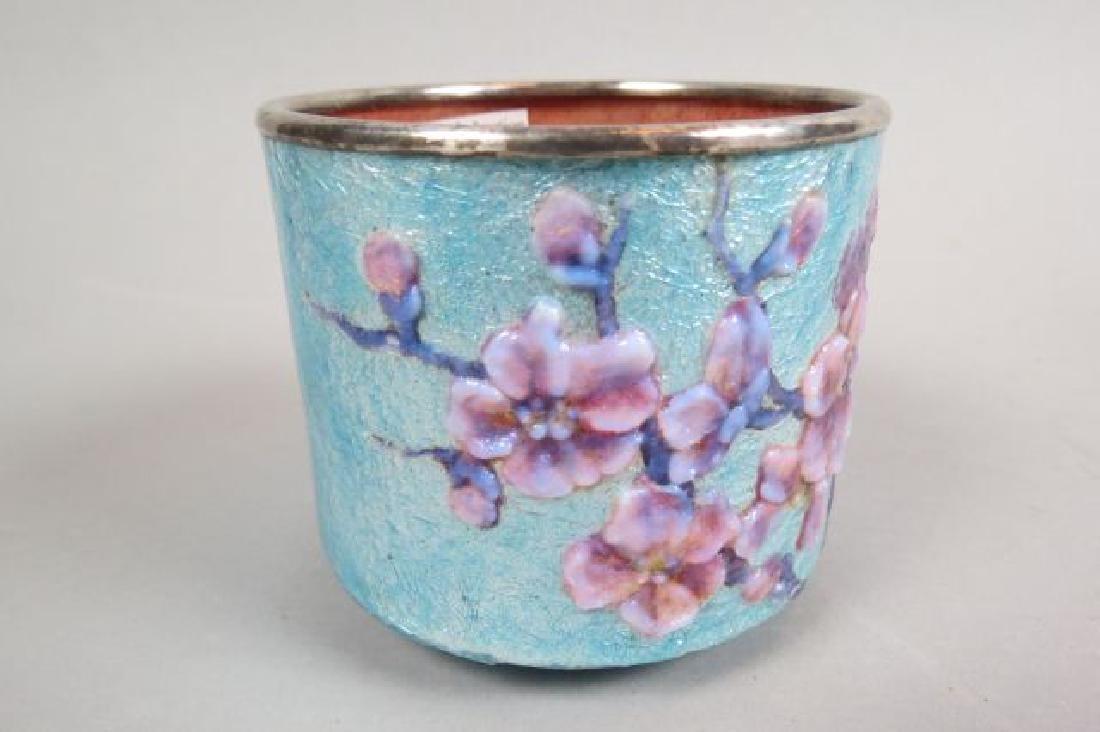 French Enamel Vase, - 3