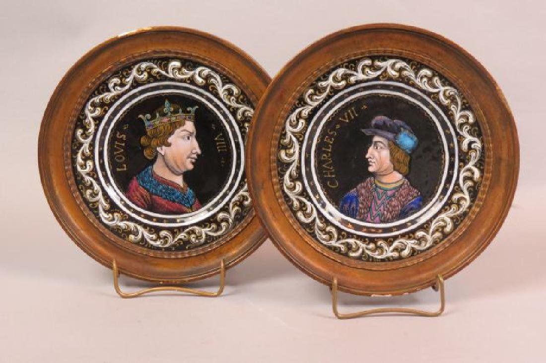Pair of Early French Enamel Plaques,