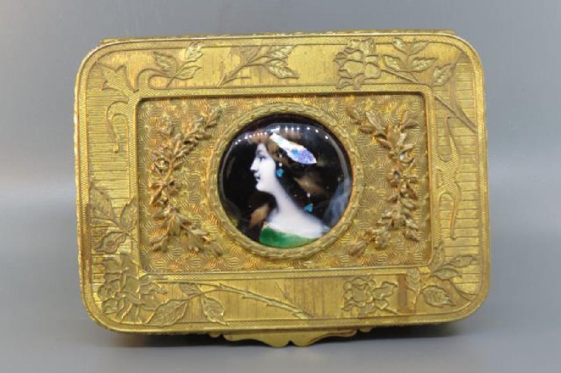 French Bronze Box with Enamel Miniature Portrait,