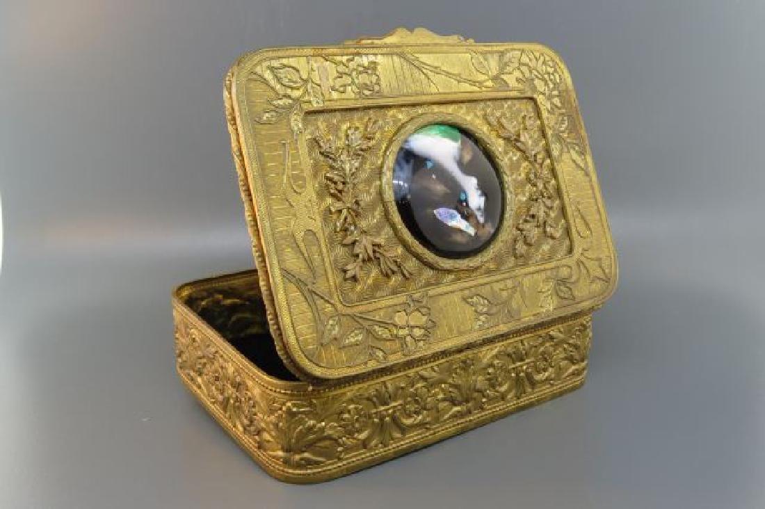 French Bronze Box with Enamel Miniature Portrait, - 3
