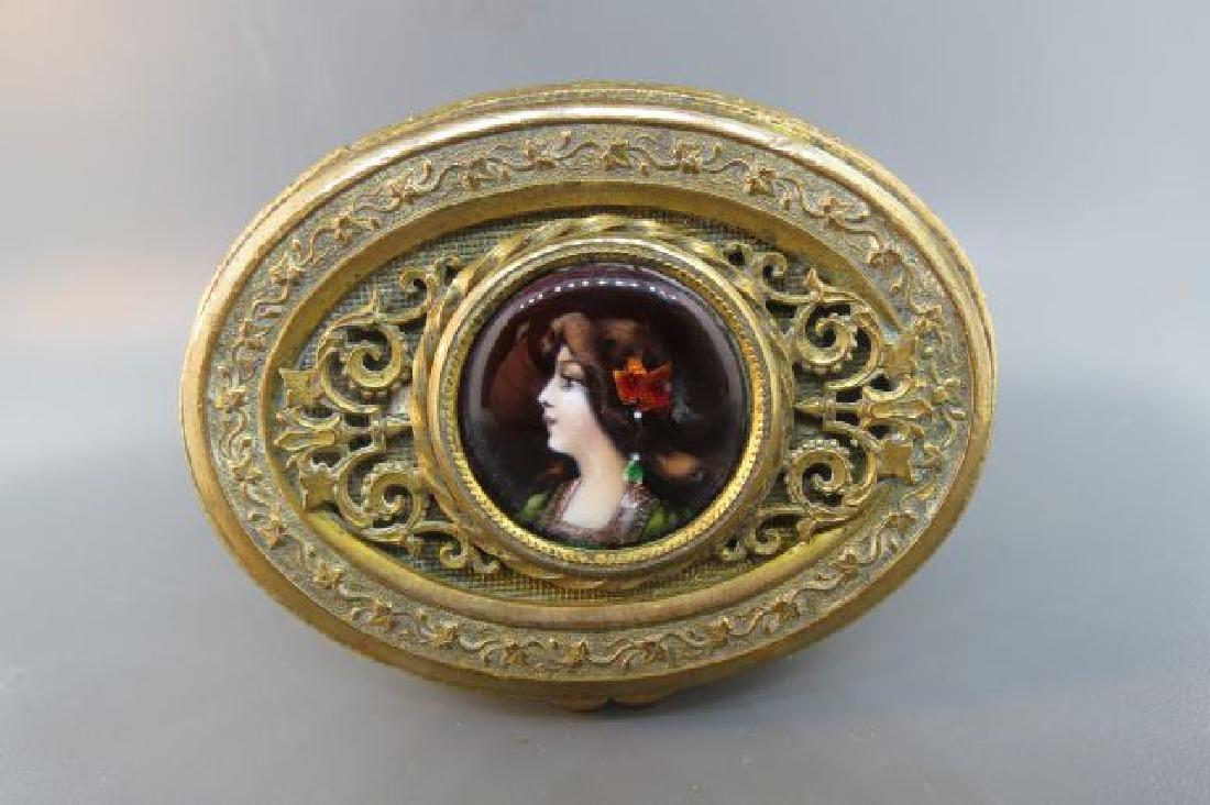 French Bronze Box w/ Miniature Portrait of Maiden,