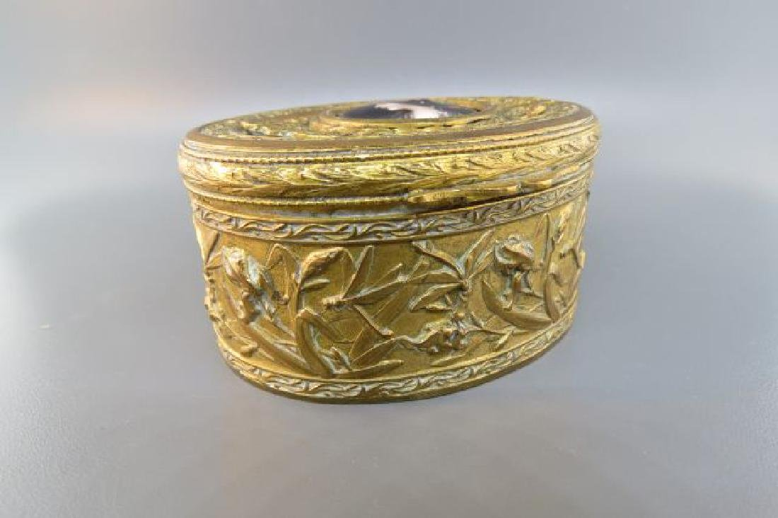 French Bronze Box w/ Miniature Portrait of Maiden, - 2