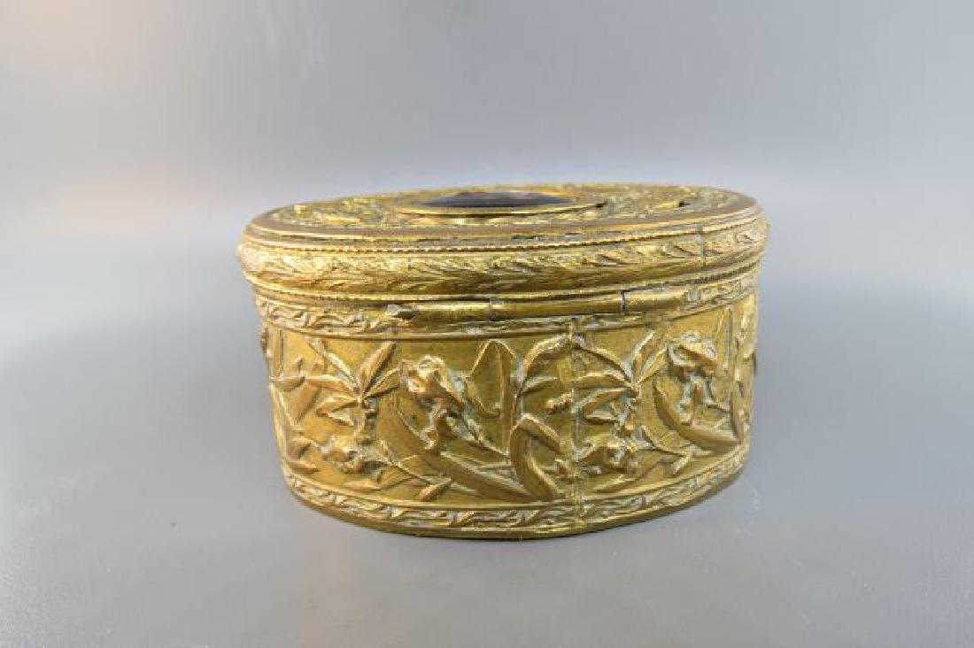 French Bronze Box w/ Miniature Portrait of Maiden, - 4