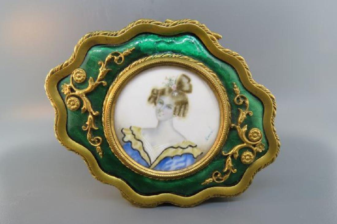 French Bronze Box w/ Miniature Portrait of Lady,