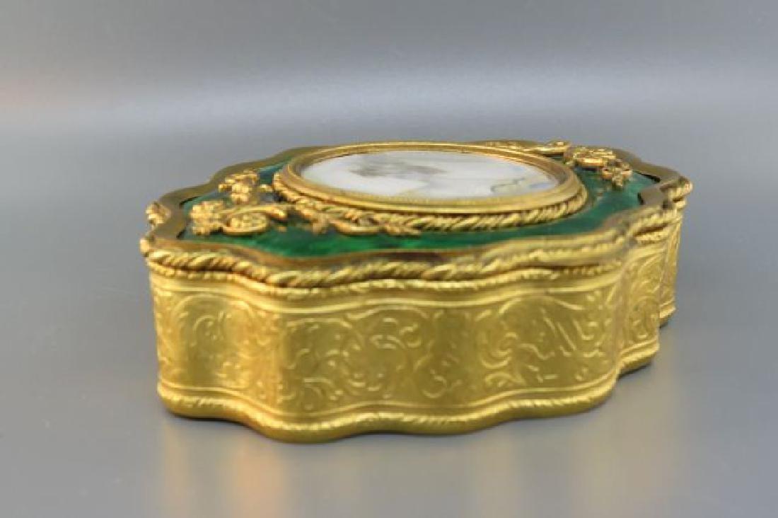 French Bronze Box w/ Miniature Portrait of Lady, - 2