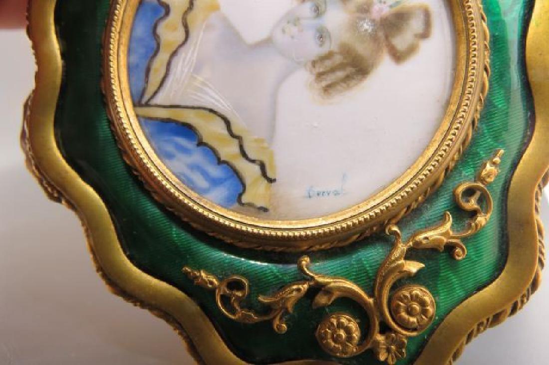French Bronze Box w/ Miniature Portrait of Lady, - 3