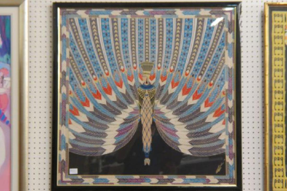 "Erte Framed Silk of Colorful ""Peacock"" Lady,"