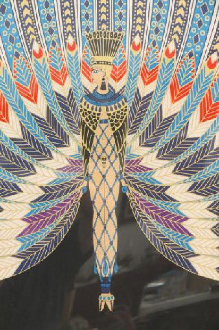 "Erte Framed Silk of Colorful ""Peacock"" Lady, - 2"