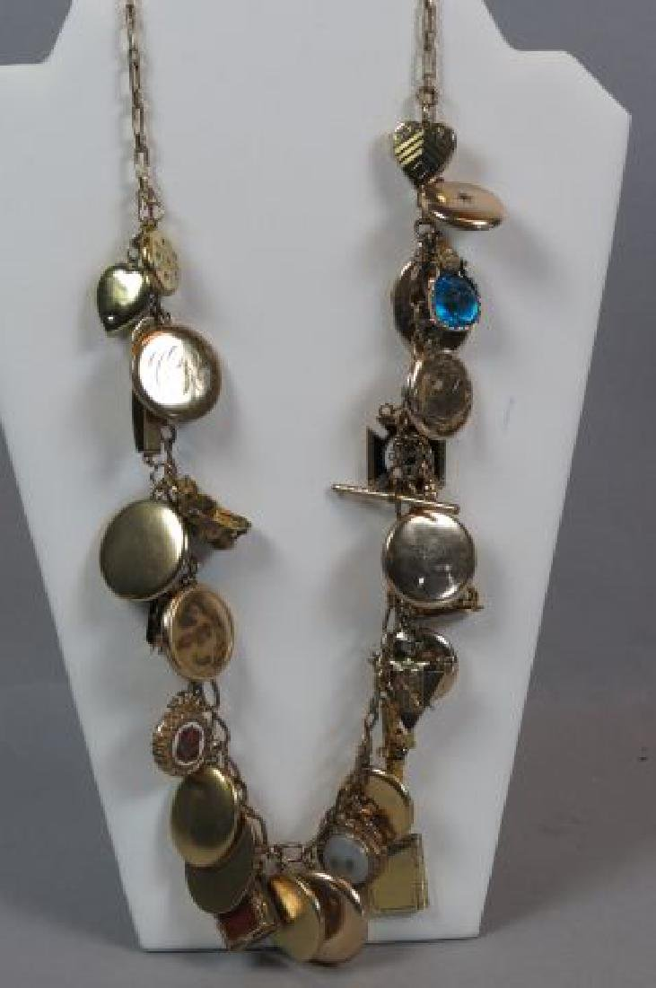 Gold Filled Necklace with 26 Lockets & Fobs,