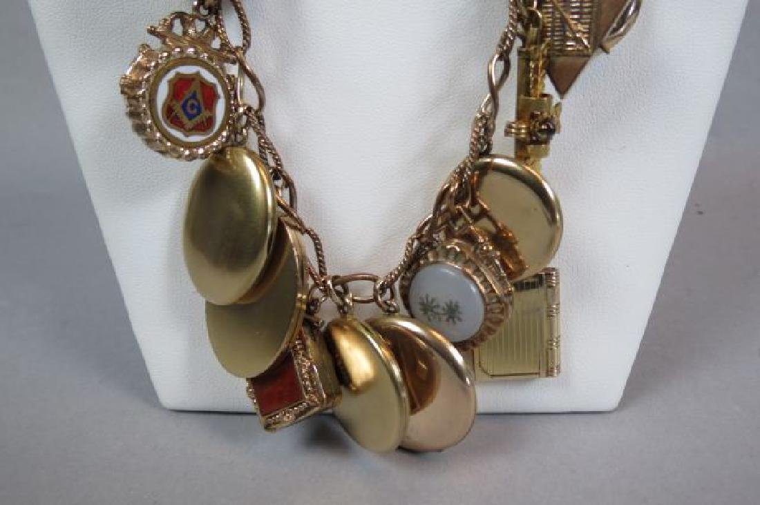 Gold Filled Necklace with 26 Lockets & Fobs, - 2