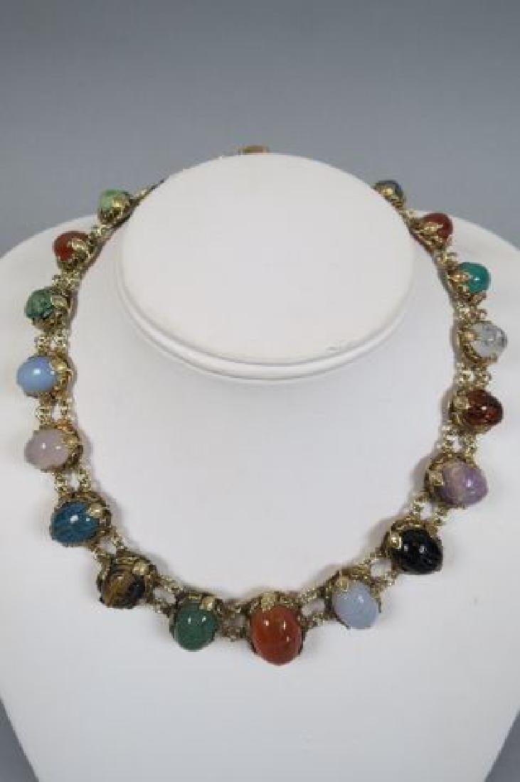Egyptian Revival Carved Scarab Silver Necklace,