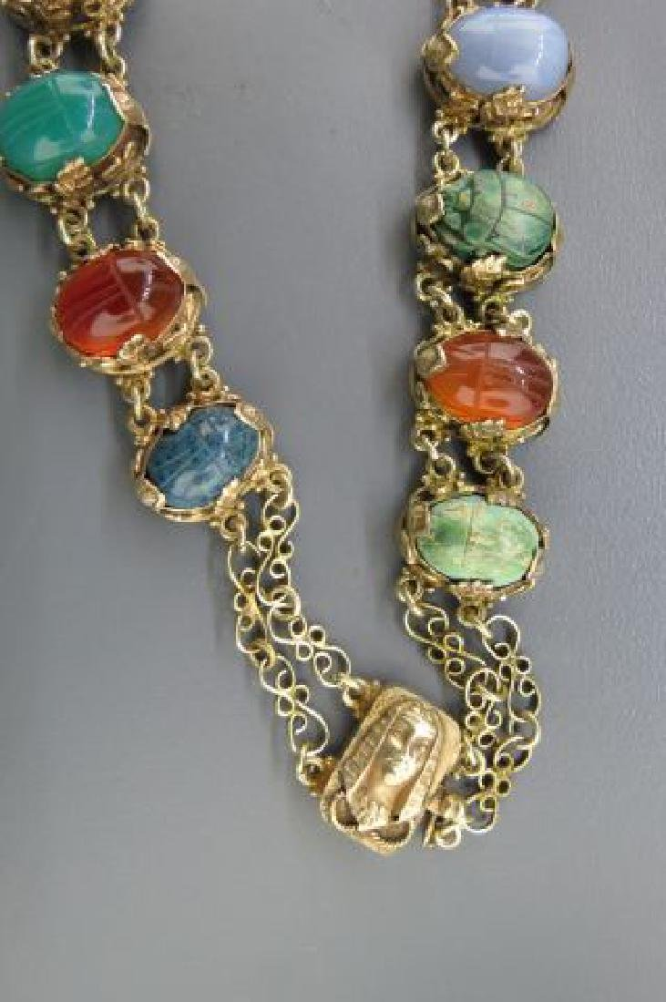 Egyptian Revival Carved Scarab Silver Necklace, - 3