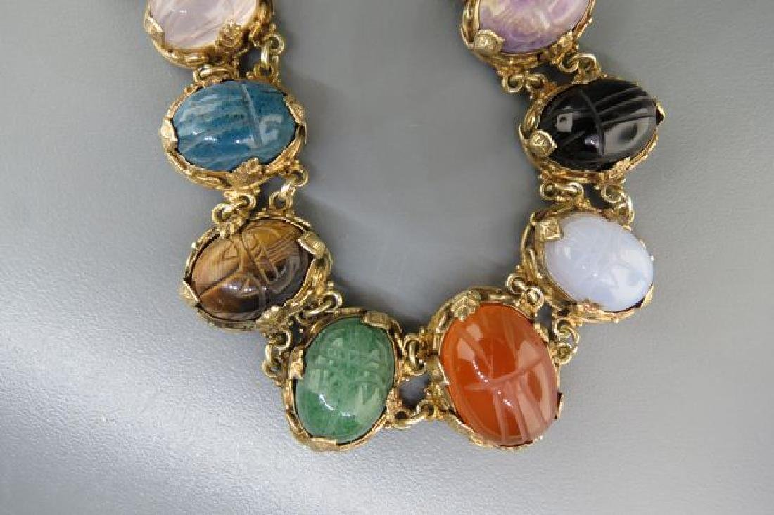 Egyptian Revival Carved Scarab Silver Necklace, - 4