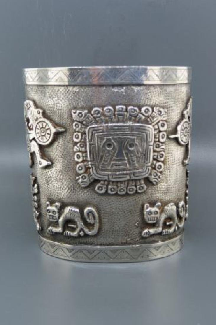 Aztec Style Silver Cuff Bracelet,