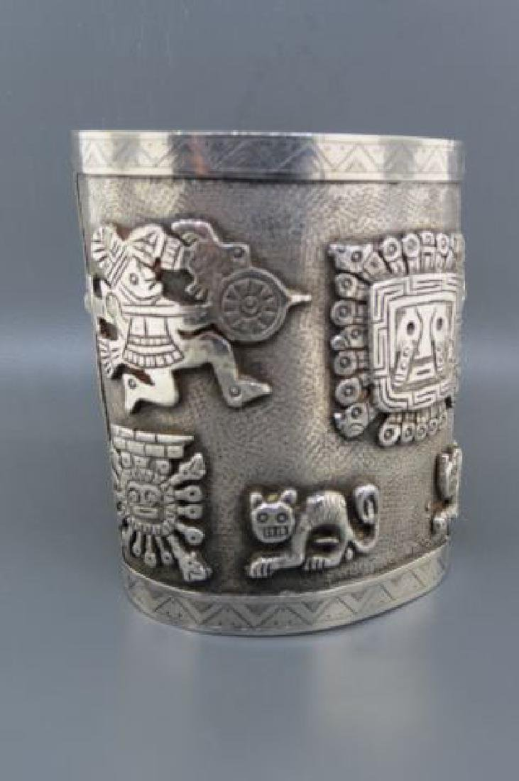 Aztec Style Silver Cuff Bracelet, - 2