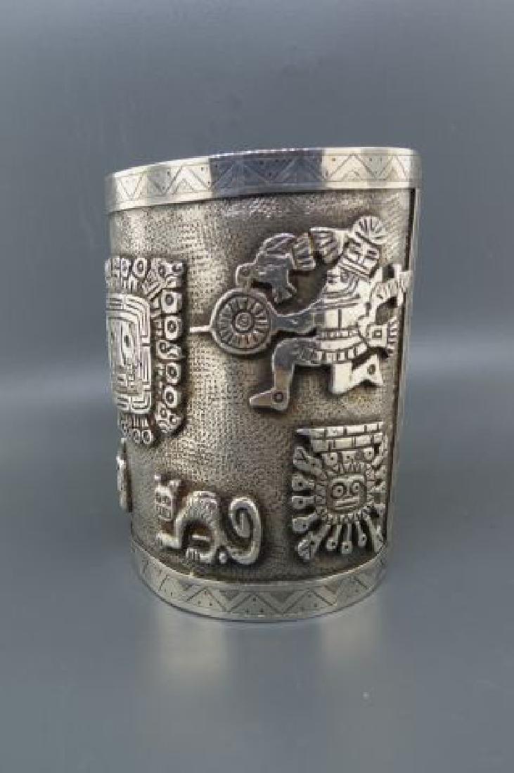 Aztec Style Silver Cuff Bracelet, - 3