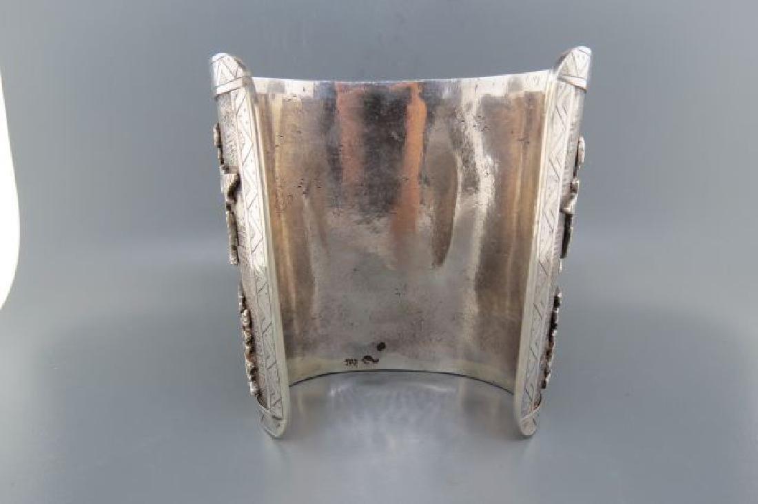 Aztec Style Silver Cuff Bracelet, - 4