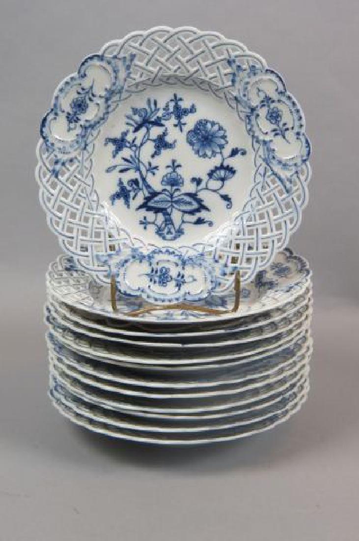 """12 Meissen """"Blue Onion"""" Porcelain Dessert Plates,"""