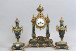 French Bronze  Marble Mantle Clock Set