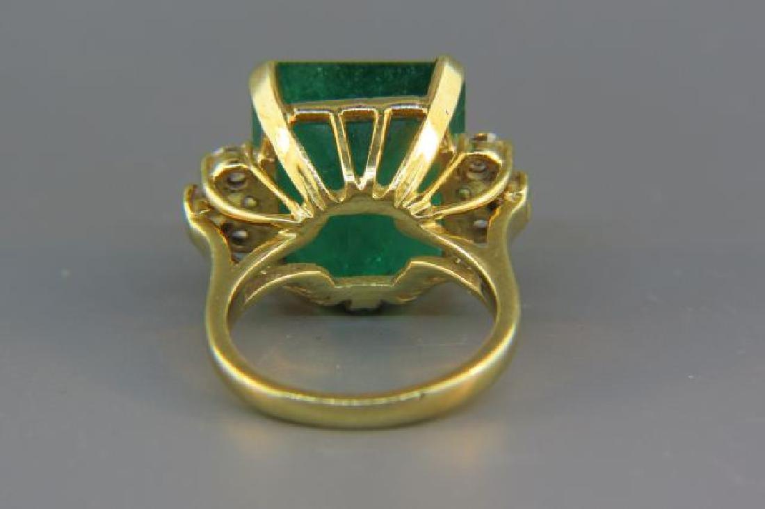 Large Emerald & Diamond Ring, - 3