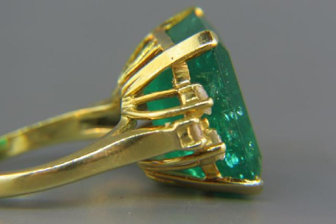 Large Emerald & Diamond Ring, - 4