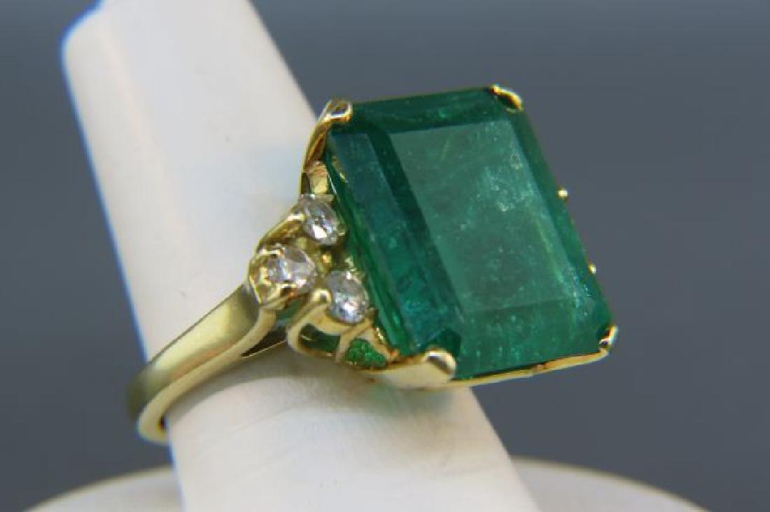 Large Emerald & Diamond Ring, - 5