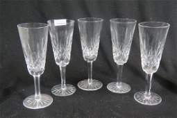 5 Waterford Lismore Cut Crystal Fluted Champagnes,
