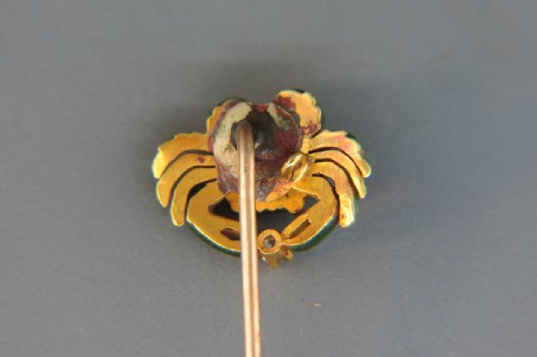 Diamond Enameled Figural Crab Stickpin, - 2