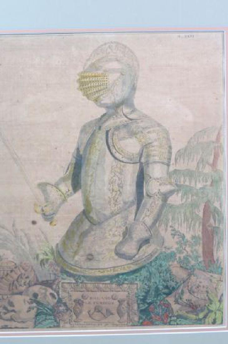 1782 Handcolored Etching of a Knight, - 2