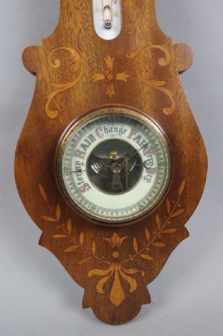 Inlaid Mahogany Wall Barometer, - 2