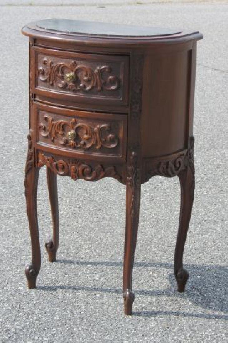 Carved Italian Marble Top Bedside Cabinet,