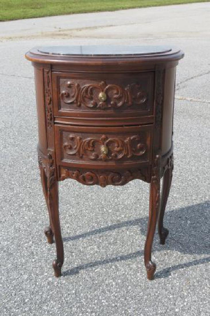 Carved Italian Marble Top Bedside Cabinet, - 2